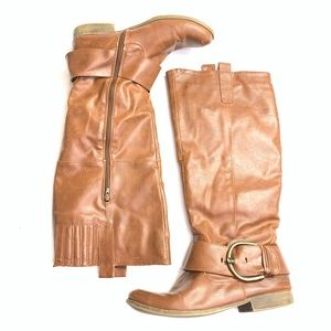 JustFab Faux Leather Knee High Boots Brown